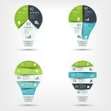 现代电灯泡infographic集合 介绍的,图,图表模板 也corel凹道例证向量 免版税图库摄影