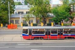 现代电车在莫斯科 免版税库存照片
