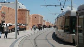 现代电车轨道在拉巴特,摩洛哥 库存照片
