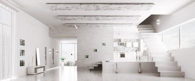 现代白色公寓全景内部 免版税库存照片