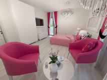 现代白色和桃红色卧室 免版税库存图片