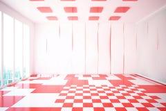 现代白色和红色内部 库存图片