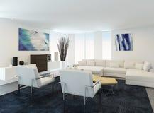 现代白色客厅内部 免版税库存图片