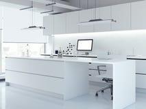 现代白色干净的实验室 3d翻译 免版税库存图片