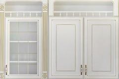 现代白色豪华厨房组合壁橱背景 免版税库存图片