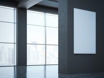 现代画廊的黑暗的大厅 3d翻译 库存照片