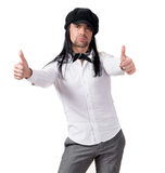 现代盖帽的年轻英俊的人 免版税图库摄影
