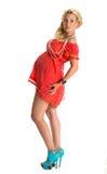 现代礼服的可爱的孕妇 库存图片