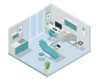 现代等量牙医诊所室内设计 皇族释放例证