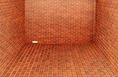 现代红砖墙壁 免版税库存照片