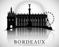 现代红葡萄酒城市地平线设计 法国 免版税库存照片