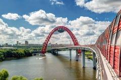 现代缆绳被停留的桥梁在莫斯科 免版税图库摄影