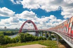 现代缆绳被停留的桥梁在莫斯科 免版税库存照片