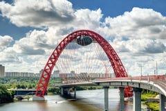现代缆绳被停留的桥梁在莫斯科 图库摄影