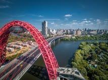 现代缆绳被停留的桥梁,莫斯科 库存照片