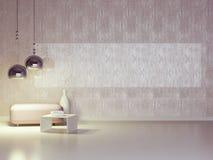 现代紫罗兰色休息室内部装饰业。 免版税图库摄影