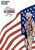 现代美国退伍军人贺卡 向量例证