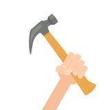 现代背景大锤子现有量藏品的房子 免版税库存照片