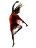 现代舞蹈家跳舞妇女被隔绝的剪影 库存照片