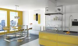 现代黄色厨房。 免版税图库摄影