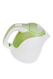 现代绿色白色电水壶,厨房设备,隔绝在白色 免版税库存图片