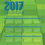 现代绿色Geometrics 2017个可印的日历开始星期天 库存照片