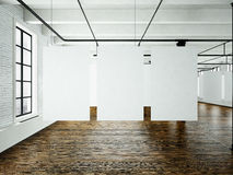 现代艺术在顶楼内部的博物馆商展 露天场所演播室 空白色帆布垂悬 木地板,砖墙,全景 库存照片