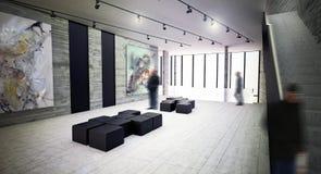现代艺术画廊内部空间 库存照片