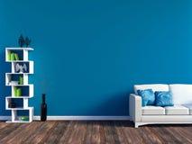 现代蓝色客厅内部-白革沙发和蓝色墙板与空间 图库摄影