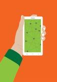 现代触摸屏幕手机在手上 库存照片