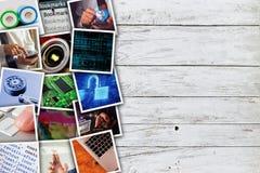 现代计算机科技照片拼贴画 免版税库存照片
