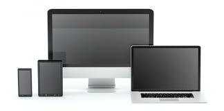 现代计算机膝上型计算机手机和片剂3D翻译 图库摄影