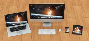 现代计算机膝上型计算机手机和片剂3D翻译 库存图片