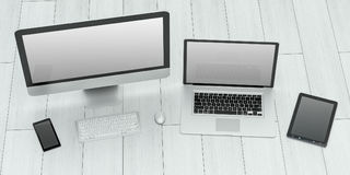 现代计算机膝上型计算机手机和片剂3D翻译 免版税库存照片