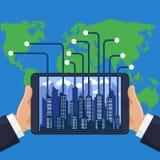 现代设备电话的未来派城市 免版税库存图片