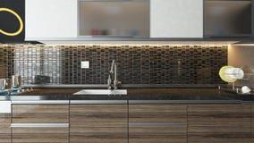 现代设计内部的厨房 免版税图库摄影