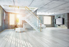 现代设计内部的顶楼 免版税图库摄影