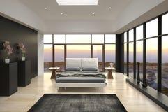 现代设计卧室有风景视图 免版税图库摄影