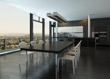 现代设计厨房内部 免版税库存照片