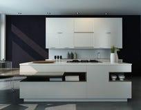 现代设计厨房内部 皇族释放例证
