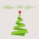 现代设计圣诞树新年快乐 库存照片