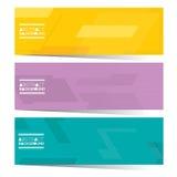 现代设计套三副五颜六色的图表水平的横幅 免版税库存照片