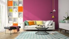 现代设计室内部有回报2的紫色墙壁的3D 图库摄影