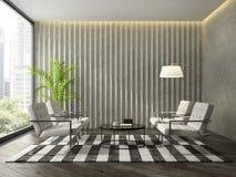 现代设计室内部有concret墙壁3D翻译的 免版税库存照片