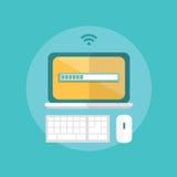 现代设计平的字符计算机科技传染媒介例证 免版税库存照片