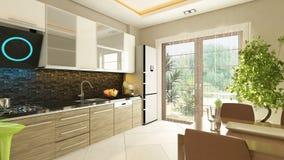 现代设计的厨房 免版税图库摄影