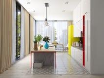 现代设计的厨房 免版税库存照片