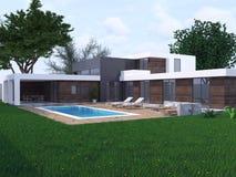现代设计的房子 免版税库存照片