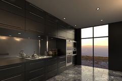 现代设计豪华厨房内部 免版税库存照片