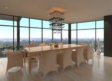 现代设计餐厅|客厅内部 免版税库存照片